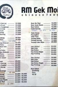 menu 0 RM Gek Moi Cemara